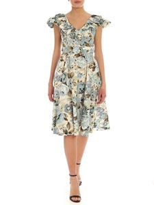 Parosh - Floral print dress in light blue and cream color