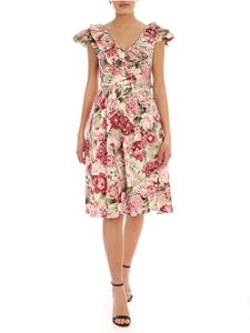 Parosh - Floral print dress in pink and cream color