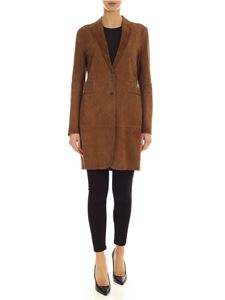 Parosh - Unlined long suede jacket in brown