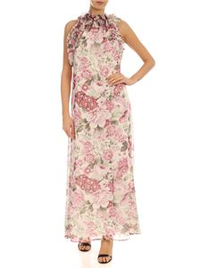 Parosh - Floral print long dress in ivory color