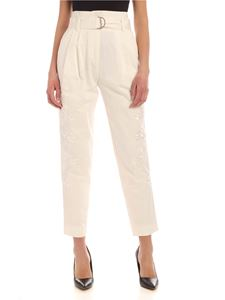 Parosh - Embroidery loose fit pants in white