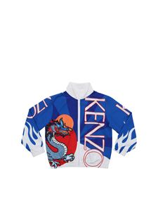 Kenzo - Giubbino Dragon Celebration blu e bianco