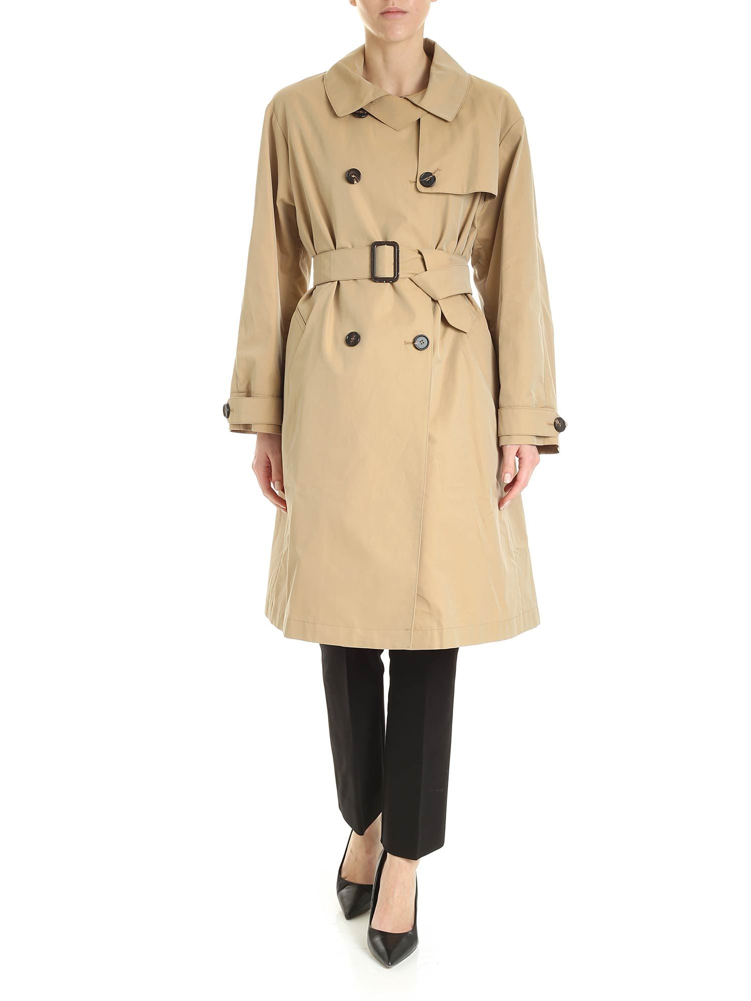 Max Mara Cottons THE CUBE CTRENCH TRENCH COAT IN BEIGE