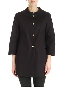 Herno - Waxed cotton overcoat in black