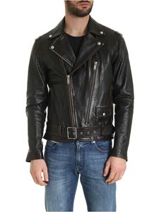 Golden Goose - Ryan vintage effect biker jacket in brown leather
