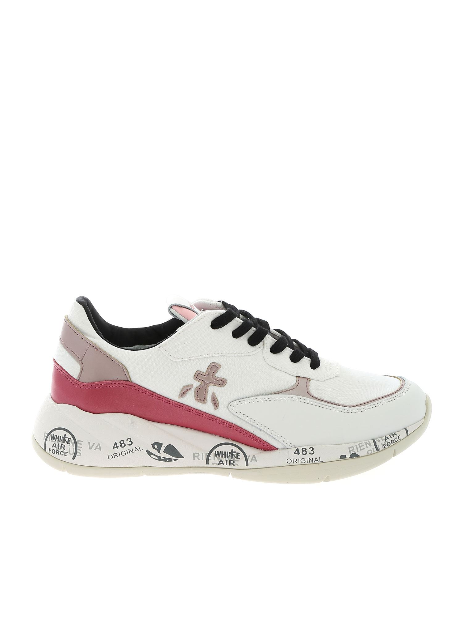 Premiata SCARLETT SNEAKERS IN WHITE AND PINK