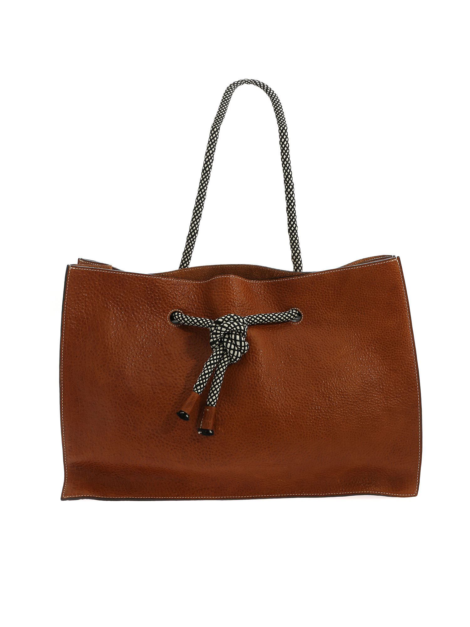 Sofie D'hoore Totes FABRIC HANDLE SHOULDER BAG IN LEATHER COLOR