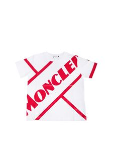 Moncler Jr - Logo print T-shirt in white and red
