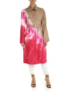 MSGM - Trench coat in beige with fuchsia faded effect