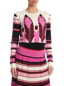 Valentino - Pop Feathers Jaquard sweater in fuchsia