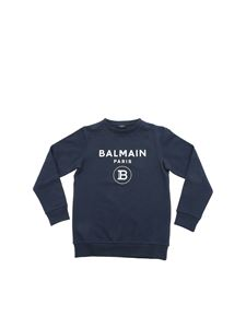 Balmain - White logo print sweatshirt in blue