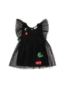 Monnalisa - Mesh dress in black with cherry patch