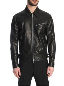 Valentino - VLTN detail leather jacket in black