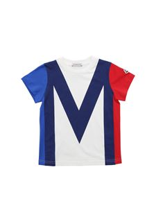 Moncler Jr - Logo patch T-shirt in blue red and ivory