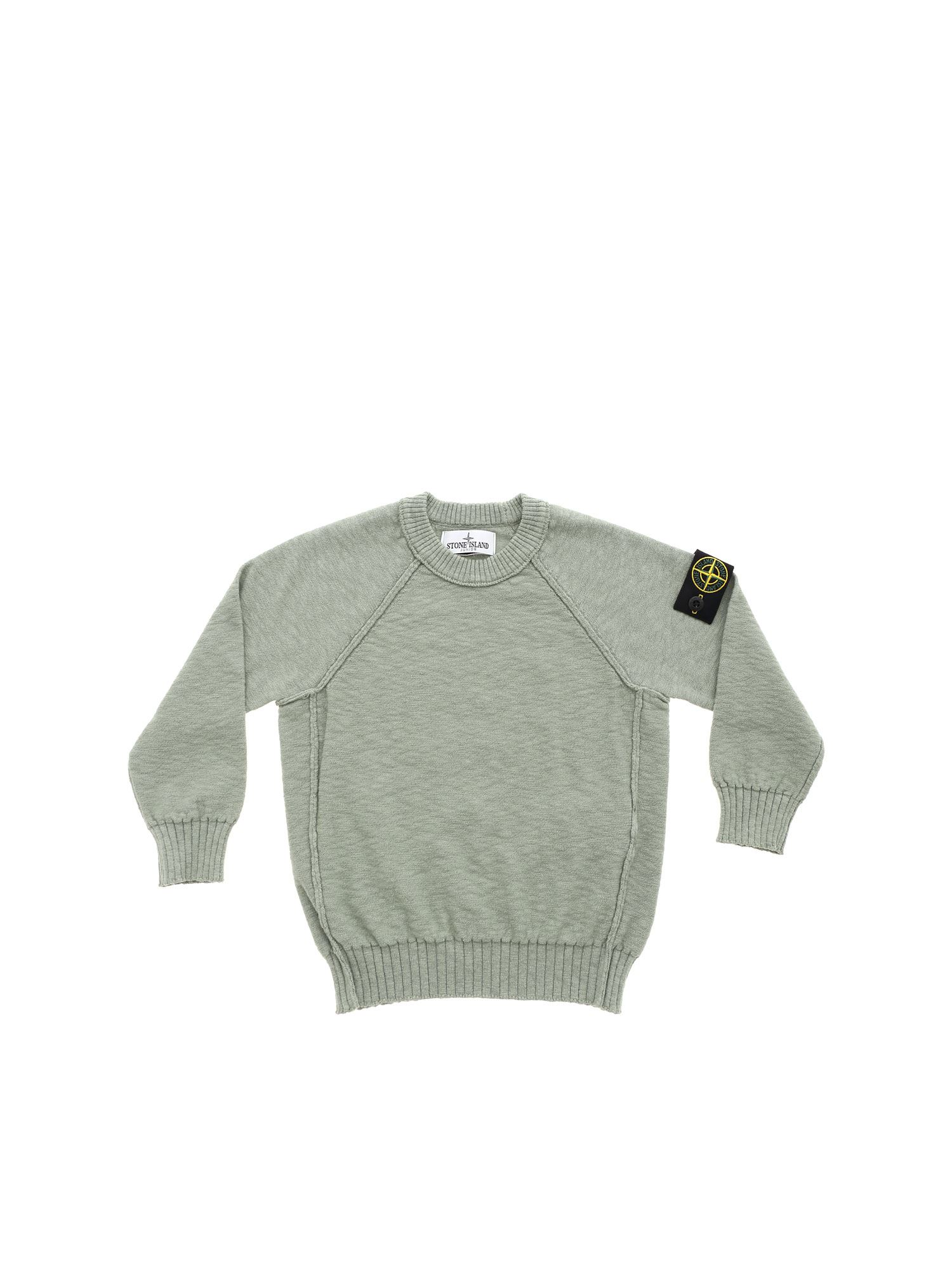 Stone Island Junior LOGO PATCH PULLOVER IN SAGE GREEN