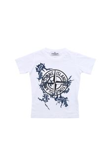 Stone Island Junior - Logo print T-shirt in white