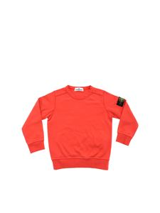 Stone Island Junior - Felpa rosso corallo con patch logo