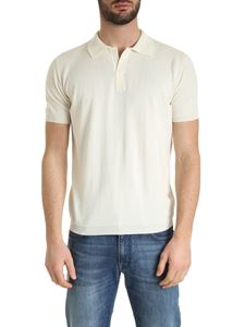 Kangra Cashmere - Cotton knit polo shirt in butter color