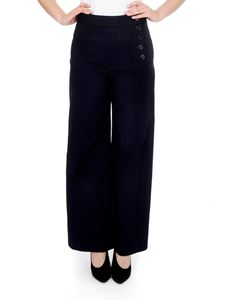 Chloé - Wide trousers in blue with side buttons