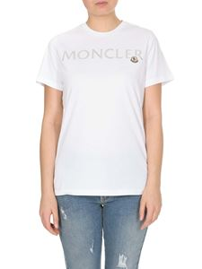 Moncler - T-shirt in white with logo embroidery