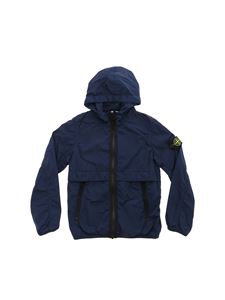 Stone Island Junior - Technical fabric jacket in blue