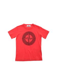 Stone Island Junior - T-shirt con logo rosa dei venti color corallo