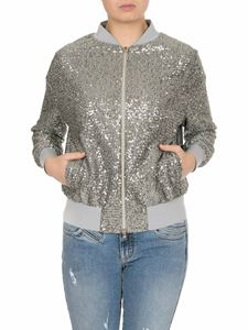 Herno - Bomber in paillettes argentate