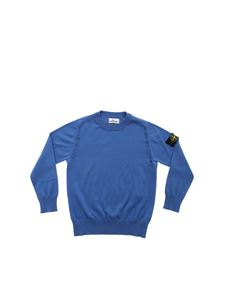 Stone Island Junior - Pullover girocollo bluette con patch logo