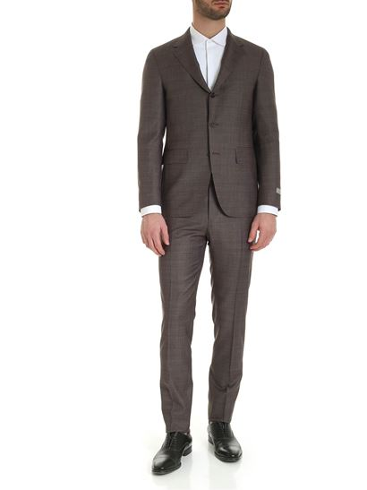 Canali - 3-roll-suit in brown melange