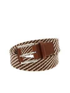 Orciani - Square belt in tan brown and beige