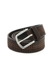 Orciani - Hunting belt in brushed pierced suede