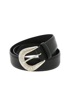 Orciani - Soft belt in black with striped effect buckle