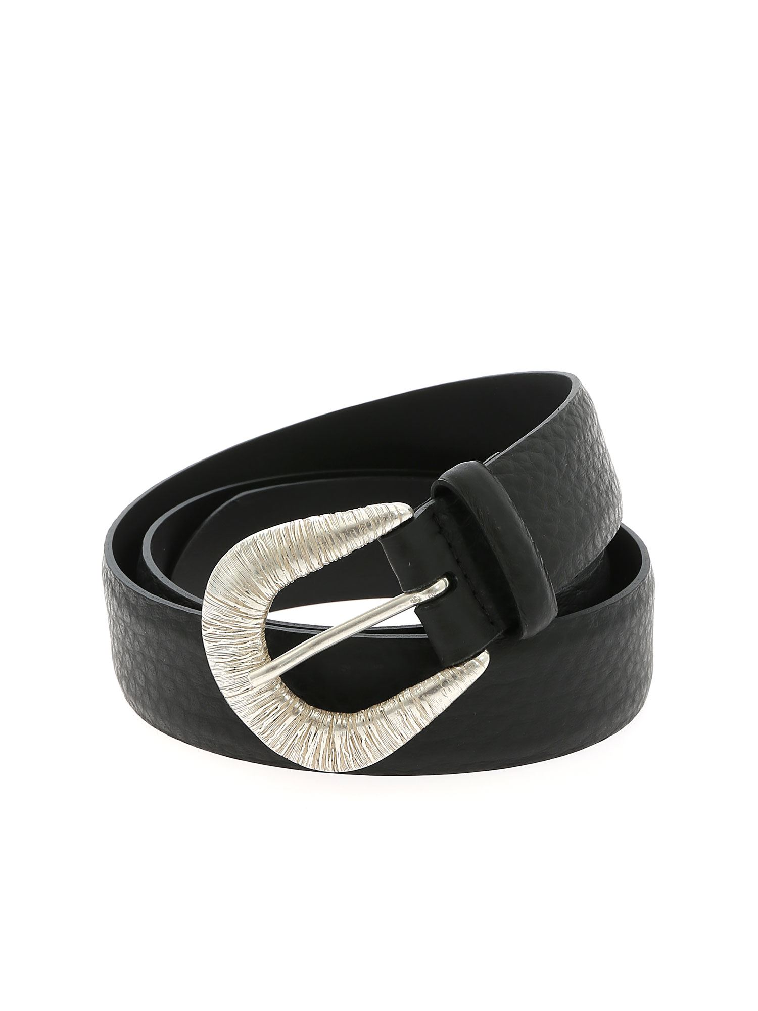 Orciani SOFT BELT IN BLACK WITH STRIPED EFFECT BUCKLE