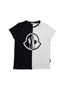 Moncler Jr - Moncler print T-shirt in black and white