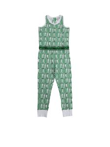 Stella McCartney Kids - Logo pattern jumpsuit in white and green