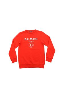 Balmain - White logo print sweatshirt in red