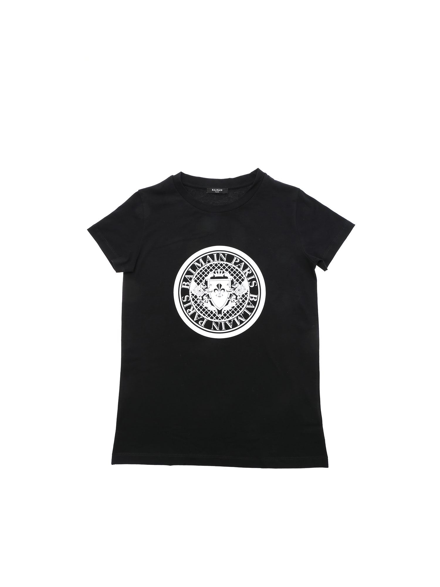 Balmain Kids' Medallion Logo Print T-shirt In Black
