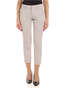 Fay - Turned-up pants in white and beige
