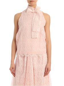 be Blumarine - Top in organza ricamata rosa