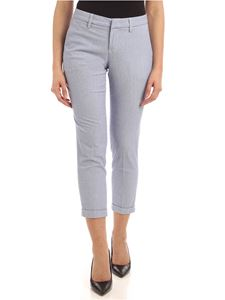 Fay - Turned-up pants in white and blue