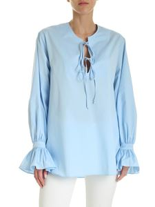 Fay - Cotton V-neck blouse in light blue
