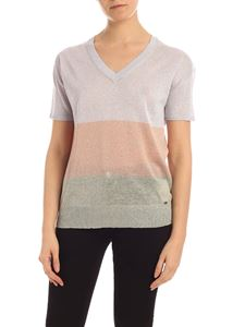 Fay - Lurex sweater in lilac, pink and light green