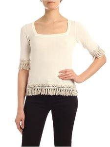 Blumarine - Fringes and square neckline sweater in white