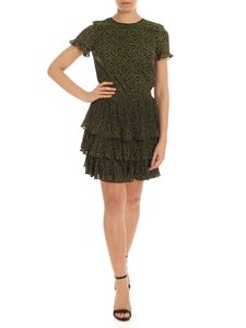 Michael Kors - Pleated flounce dress in green and black