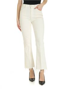 Mother - The Hustler Ankle Fray jeans in cream color