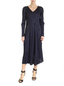 PLEATS PLEASE Issey Miyake - Sliced pleated dress with drawstring in blue
