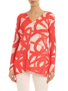 PLEATS PLEASE Issey Miyake - Printed Spin blouse in coral red