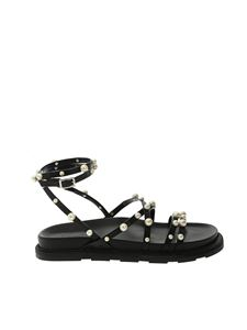 Vic Matiè - Pearly details braided sandals in black
