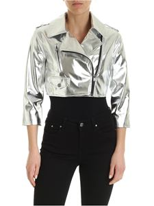 Twin-Set - Faux leather jacket in silver laminated