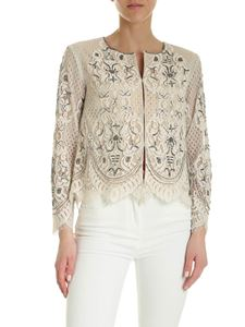Twin-Set - Embroidered lace jacket in ivory